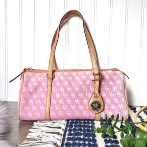 Dooney & Bourke pink canvas leather barrel bag